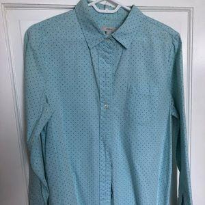 J. Crew button up shirt. Green polka dots.